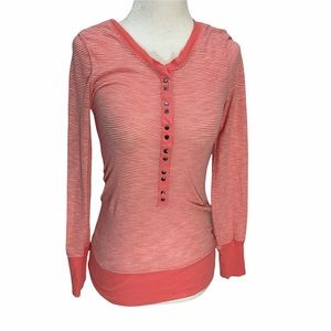 Roxy🌺Long Sleeve Striped T-Shirt Scoop Neck Snap Front Closure XS
